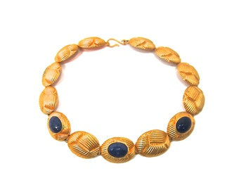 WOMEN'S VINTAGE NECKLACE lapis lazuli 3 cabochon gems