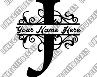 Letter J Floral Initial Monogram Family Name Vinyl Decal Sticker - Personalized Floral Name Decal