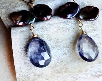 Checkerboard Faceted Iolite & Petal Pearl Earrings
