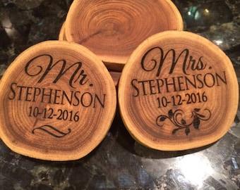 2 Personalized wedding coasters, wedding gift for bride and groom, marriage gift, custom coaster, wedding plaque, weddding gift
