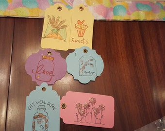 6 various occasion gift/card tags