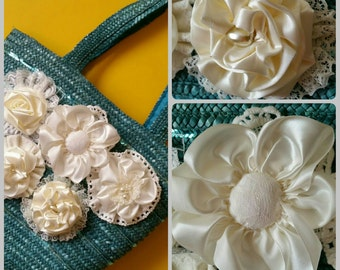 Beautiful turquoise Shoulder bag with handmade ribbon lace flowers