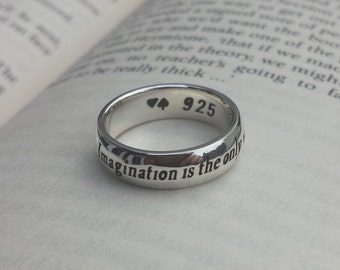 Lewis Carroll quote ring, Personalized ring, 925 sterling silver, Inspirational, Alice in Wonderland, Imagination, Handmade