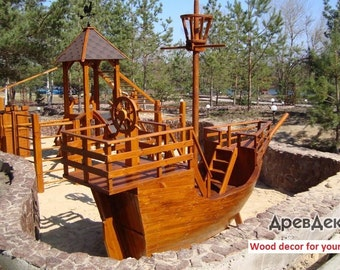 Ship, boat, vessel with swing and hill from wood