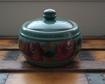 Vintage Red Wing Pottery Green Crock with Lid
