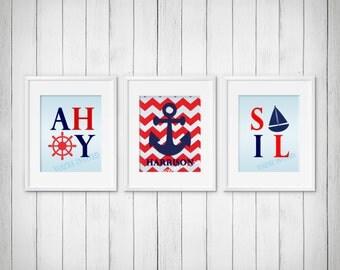 Nautical Prints, Anchor Print, Sailboat Print, Custom Nursery Art, Custom Nursery Decor, Personalized Nursery Art, Set of 3 Prints