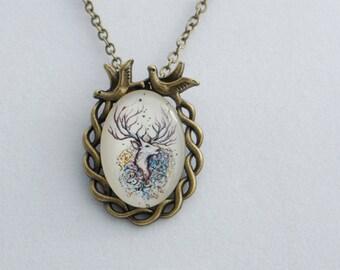 DEER glass cabochon pendant, Kawaii Necklace, Cute Necklace, Girly pendant, cabochon glass necklace. Vintage pendant.  forest necklace