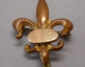 Antique Victorian Fleur de Lis Pocket Watch Pin Brooch Gold Filled