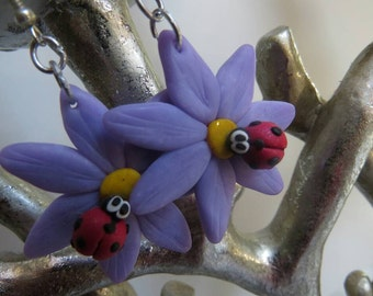 Lilac Flower Earrings with Ladybird