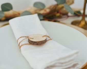 Rustic Wood Napkin Rings, Wedding Decor, Table Setting, (Set of Four)