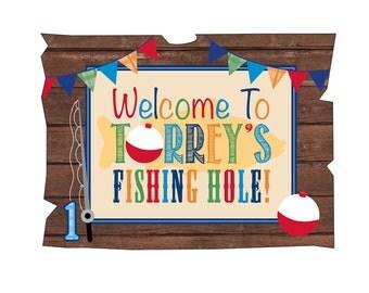 Gone Fishing Birthday Sign // Fishing Hole Sign - Digital File