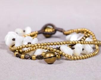 Beaded bracelet- Howlite Rock Beads Bracelet- Gold beads Bracelet- B1