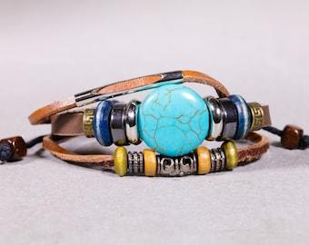 Brown Leather Bracelet With Turquoise, June Born Birthstone, Leather Bracelet With Tibetan brass beads-Unisex Bracelet-  LB 45