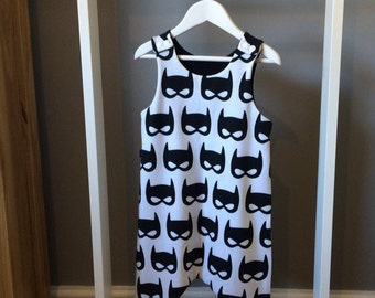 Bat Mask black & white Romper/Dungarees 0-3 months upto 5-6 years