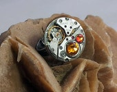 Steampunk ring, mecanism with orange and yellow Swarovski Kristal cabochons   b9fz-019