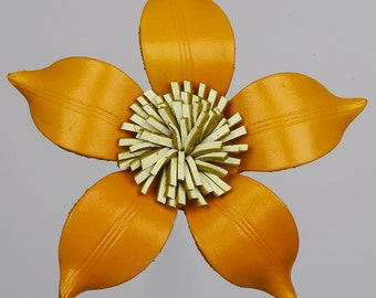Yellow Leather Flower Brooch