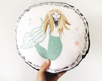 Mermaid pillow, mermaid cushion, mermaid nursery round cushion, toddler sitting pillow, mermaid nursery decor, little mermaid stuffed pillow