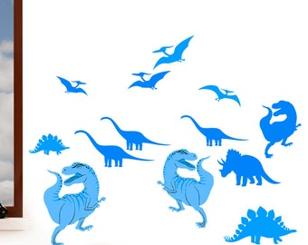 Dinosaurs, T-Rex, Triceratops, Pteradactyl, Diplodocus - Boys Childrens Printed Wall Art Vinyl Stickers - Designed by Rubybloom Designs