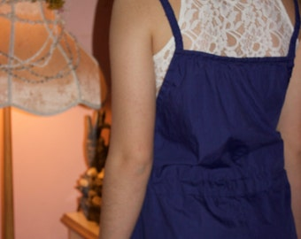 90's Vintage- Blue Jumpsuit/Jumper/ Romper [re-used, recycled spring fashion]