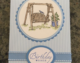Summer Swing Birthday Card Blue Bird Hand Stamped Card Layered Card - 102