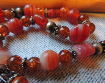 Red Coral Ceramic Glass Bead Necklace