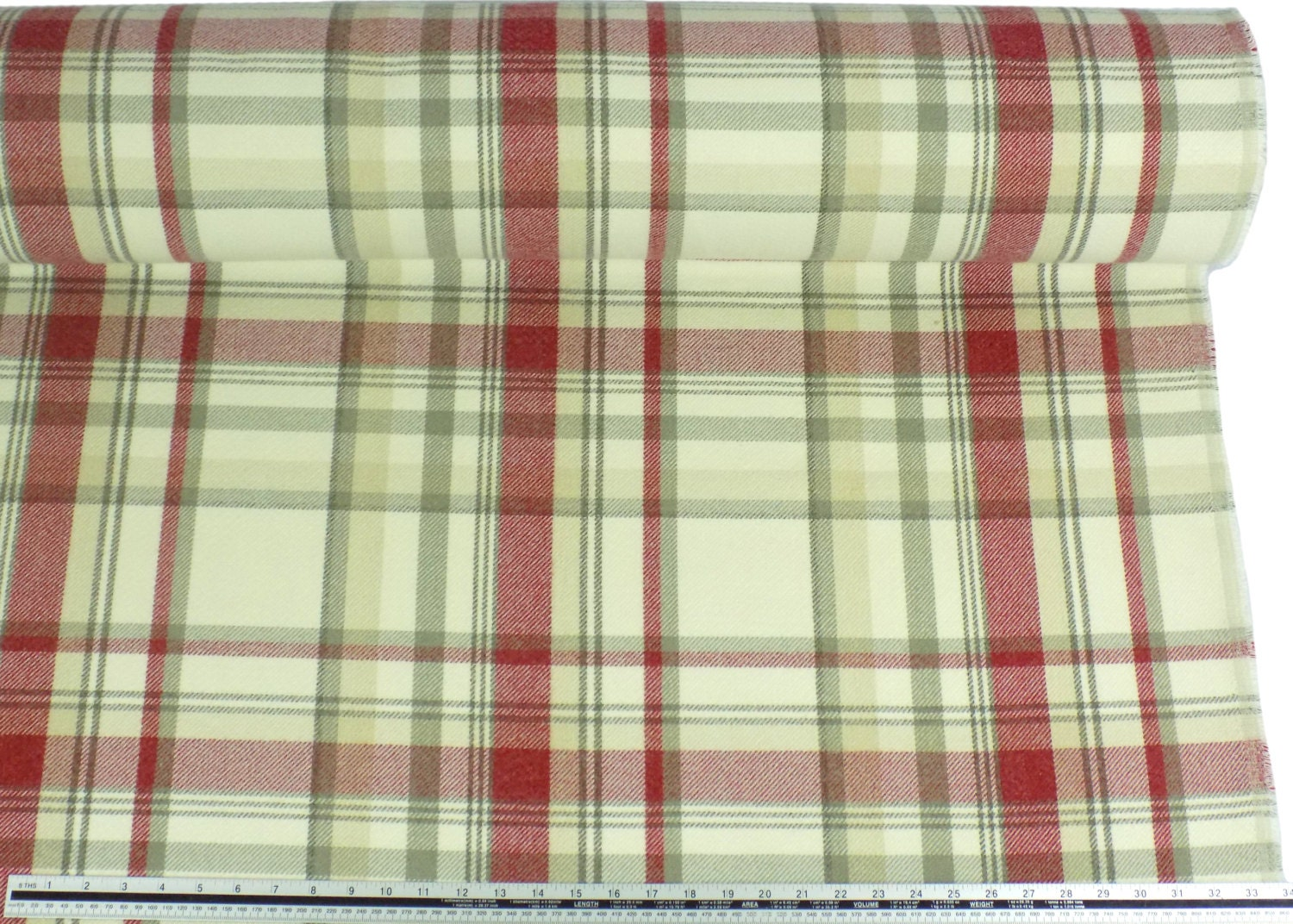 Tartan Check Wool Look And Feel Cream Red Upholstery Fabric