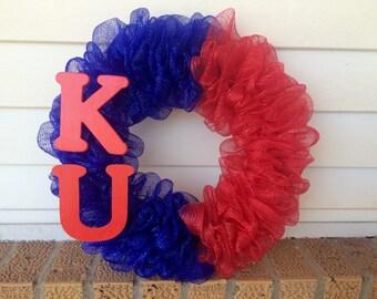 Kansas Jayhawks, KU, University of Kansas Deco Mesh Wreath