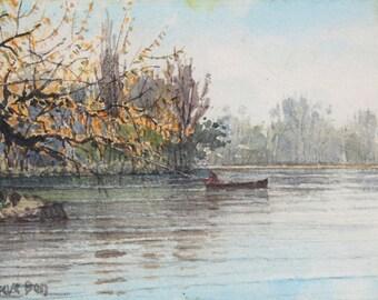 boat on the river seine (watercolor)