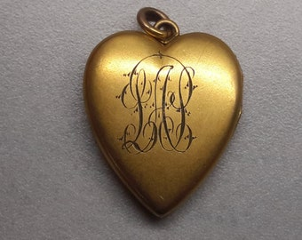 ESTATE, Antique, Georgian Heart Shaped Locket, Made by ' S. & B. L. CO', Letters Engraved in Gold Plated Metal, Photo of Gentlemen inside
