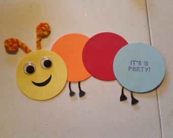 Set of ten handmade very cute catapiller birthday invitations!