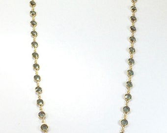 "Raindrops Necklace - Black Diamond/Gold 36"" Swarovski crystal"