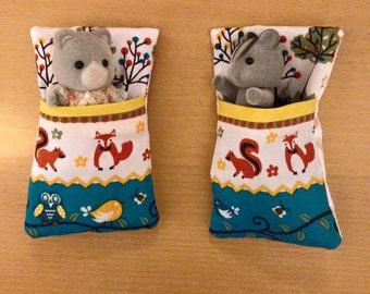 Set of 2 Single Sleeping Bags, or 1 Double handmade for Sylvanian Families