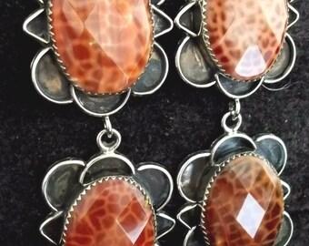 Navajo Silver and Brazilian Fire Agate Earrings Signed L Zek Dangle Post *GR209