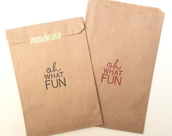 25 Oh What Fun Favor Bags - Birthday Favor Bags - Candy Bar Bags - Treat Bags - Party Favor Bags - Custom Favor Bags - SALE