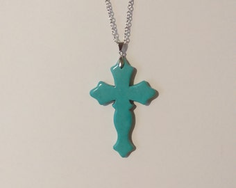 18in Turquoise colored cross necklace