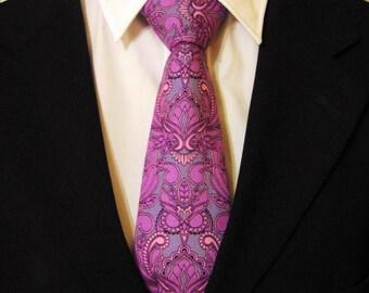 Owl Necktie, Owl Tie, Mens Necktie, Mens Tie, Floral Necktie, Floral Tie, Purple Necktie, Purple Tie, Grey Necktie, Grey Tie, Father, Dad