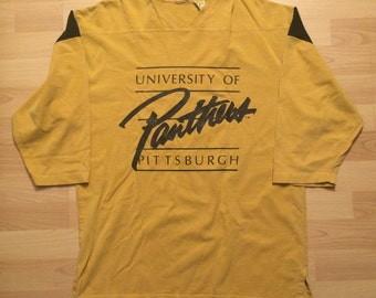 Medium 80's University Of Pittsburgh Panthers jersey style T shirt vintage 1980's gold yellow blue football