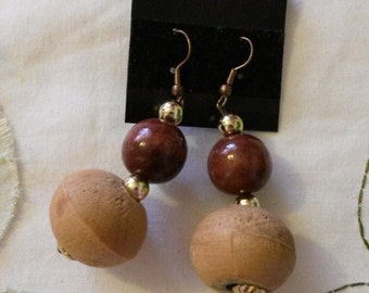 Wooden globe dangle earrings