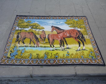 Wall hangings rug ,illustrated the horse farm, made of cotton material,52'' x 37'' inches,animal designed rug !!!