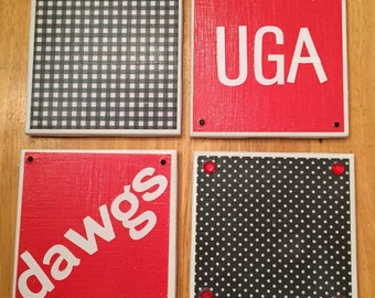 Bling coaster set- dawgs UGA