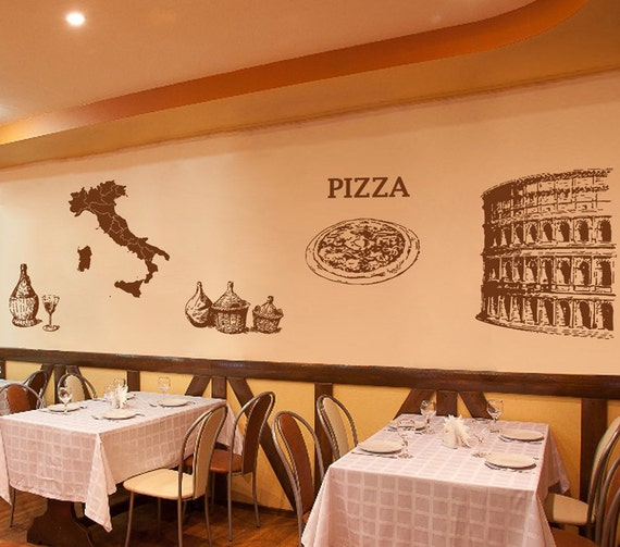 Kik wall decal sticker italy map coliseum pizza pizzeria