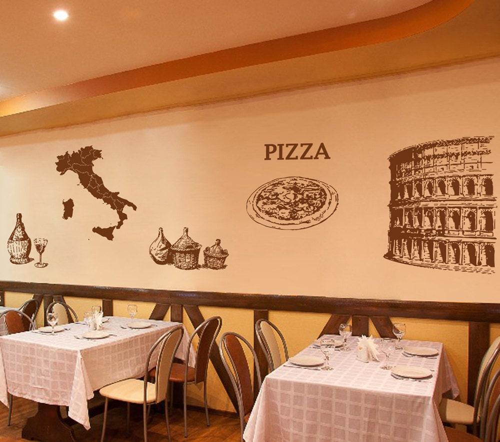 Kik1020 wall decal sticker italy map coliseum pizza pizzeria for Decoracion pizzeria