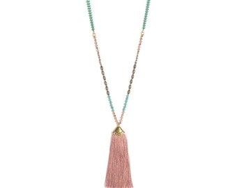 Handmade tassel necklace Bohemian look Brown