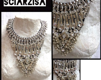 Hand embroidered necklace Swarovski crystals and studs