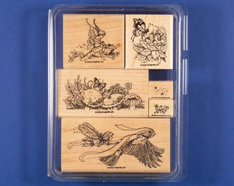 Stampin' Up Fairyland Set of 6 Rubber Stamps - Fairies Riding a Frog, Flying with Bird, and More - Retired
