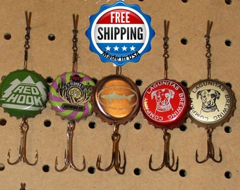 Best Seller - Craft Beer Bottle Cap Fishing  Lures uplcycled tackle / gifts for / guys / man cave decor / him / dad /groomsmen / gift / man