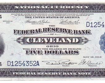 FRBN Cleveland Five Dollars FR-785 ChAU