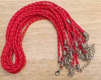 Braided Leather Necklace Cord, 10 Pcs Adjustable Faux Leather Necklace,  Red Necklace Cord