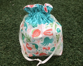 Mermaid Project Bag with Turtles, Seahorses, Fish, Seashells, the Ocean and Coral Reef