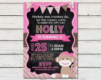 Sock Monkey Girl Printable Birthday Invitation - DIY - PDF & JPG Files only